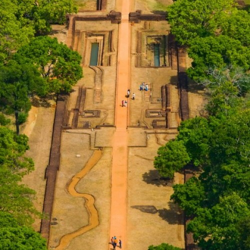 Looking down from the summit to the water gardens, Sigiriya, Sri Lanka