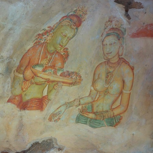 Erotic apsaras (celestial nymphs) in the fresco gallery, Sigiriya, Sri Lanka