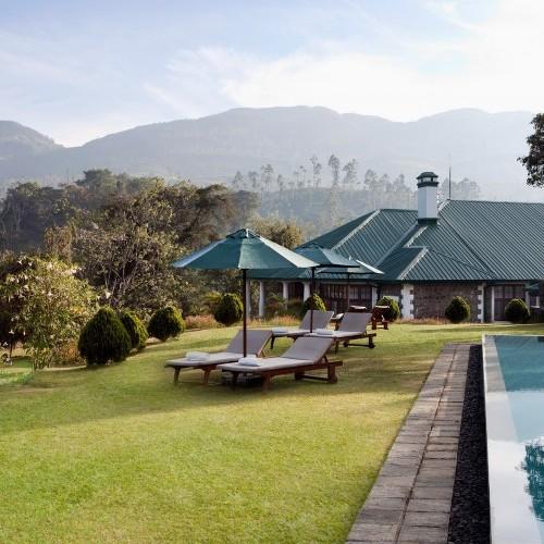 Garden and pool at Tientsin Bungalow, Ceylon Tea Trails, Sri Lanka