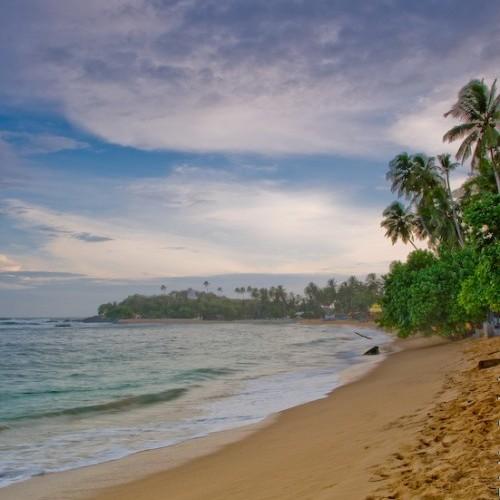 Crescent-shaped, golden sandy bay at Unawatuna, South Coast, Sri Lanka