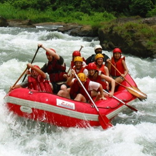White-water rafting over rapids on the Kelani River, Kitulgala, Sri Lanka